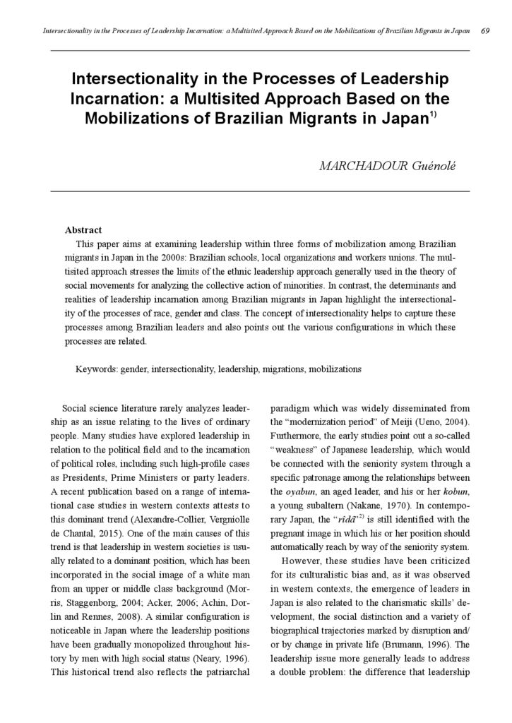 [Electric data]Intersectionality in the Processes of Leadership Incarnation: a Multisited Approach Based on the Mobilizations of Brazilian Migrants in Japan