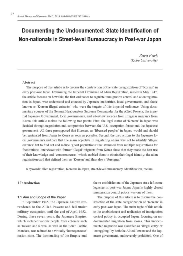 [Electric data]Documenting the Undocumented: State Identification of Non-nationals in Street-level Bureaucracy in Post-war Japan